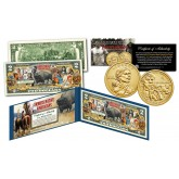 FAMOUS NATIVE AMERICANS Buffalo Bison Official U.S. $2 Bill with Jim Thorpe Sacagawea 2018 US Mint Dollar Coin