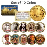 FAMOUS NATIVE AMERICANS Colorized American Gold Buffalo 10-Coin Full Set INDIANS