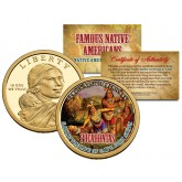 POCAHONTAS - Famous Native Americans - Sacagawea Dollar Colorized US Coin - SAVING THE LIFE OF CAPT. JOHN SMITH Indians