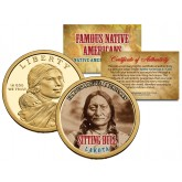 SITTING BULL - Famous Native Americans - Sacagawea Dollar Colorized US Coin - LAKOTA Indians