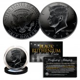 BLACK RUTHENIUM 2018-P JFK Kennedy Half Dollar U.S. Coin with Capsules and COA (Philadelphia Mint)