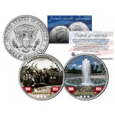 World War II D-DAY & WWII Memorial - Anniversary - JFK Kennedy Half Dollar Colorized 2-Coin Set
