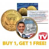BARACK OBAMA 2008 JFK Kennedy Half Dollar Coin 24K Gold Plated - AS SEEN ON TV - BUY 1 GET 1 FREE - bogo