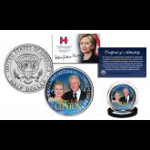 HILLARY & BILL CLINTON Democrat Presidential Campaign Official U.S. 2016 JFK Kennedy Half Dollar Coin
