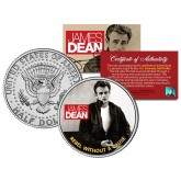 "JAMES DEAN "" Rebel Without a Cause "" JFK Kennedy Half Dollar US Coin - Officially Licensed"