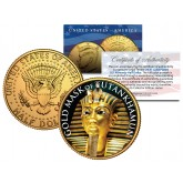 GOLD MASK OF TUTANKHAMUN 24K Gold Plated JFK Half Dollar US Coin KING TUT DEATH