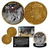 Apollo 11 1st Man on Moon 50th Anniversary John F. Kennedy Centennial 24K Gold Plated Coin