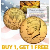 24K GOLD PLATED 2015 JFK Kennedy Half Dollar Coin w/Capsule - BUY 1 GET 1 FREE - bogo