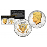 2016 JFK Kennedy Half Dollar U.S. Coin Uncirculated with SELECT 24KT Gold Gilded Highlights on Both Sides * P MINT *