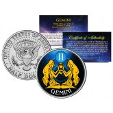 GEMINI - Horoscope Astrology Zodiac - JFK Kennedy Half Dollar US Colorized Coin