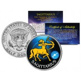 SAGITTARIUS - Horoscope Astrology Zodiac - JFK Kennedy Half Dollar US Colorized Coin