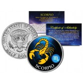 SCORPIO - Horoscope Astrology Zodiac - JFK Kennedy Half Dollar US Colorized Coin