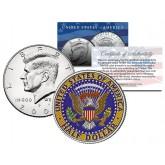 Colorized JFK Kennedy Half Dollar U.S. Coin Genuine Legal Tender (Reverse Side)