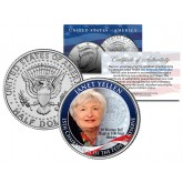 JANET YELLEN First Woman Federal Reserve Bank JFK Kennedy Half Dollar US Colorized Coin