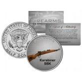 KARIBINER 98K Gun Firearm JFK Kennedy Half Dollar US Colorized Coin Kurz Rifle