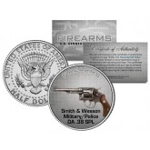 SMITH & WESSON Military/Police DA .38 SPL Gun Firearm JFK Kennedy Half Dollar U.S. Coin