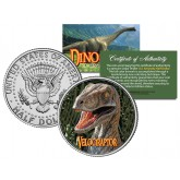 VELOCIRAPTOR Collectible Dinosaur JFK Kennedy Half Dollar US Colorized Coin