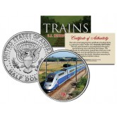 TGV (Fastest Wheeled Train) - Famous Trains - JFK Kennedy Half Dollar U.S. Colorized Coin