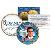 President MITT ROMNEY 24K Gold Plated JFK Kennedy Half Dollar Colorized Coin RARE PROMO