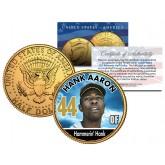 HANK AARON Baseball Legends JFK Kennedy Half Dollar 24K Gold Plated US Coin