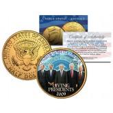 LIVING PRESIDENTS 24K Gold Plated JFK Kennedy Half Dollar Coin OBAMA BUSH CLINTON Jimmy CARTER