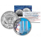 WORLD TRADE CENTER 9/11 Colorized 2001 JFK Kennedy Half Dollar U.S. - First Ever WTC Coin
