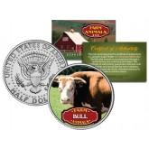 BULL Collectible Farm Animals JFK Kennedy Half Dollar U.S. Colorized Coin
