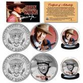 JOHN WAYNE Rio Bravo & The Quiet Man Colorized JFK Half Dollar Genuine Legal Tender U.S. 2-Coin Set