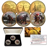 JUSTIFY Triple Crown Winner Thoroughbred Horse Racing 24K Gold Plated 3-Coin Statehood Quarter Set with Display Box