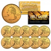 2002 Louisiana State Quarters U.S. Mint BU Coins 24K GOLD PLATED (Quantity 10)