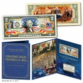 July 4th Independence Day 2-Sided Colorized Genuine Legal Tender U.S. $2 Bill in Large Collectors Folio Display