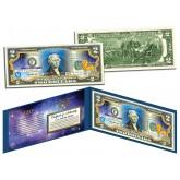LEO - Horoscope Zodiac - Genuine Legal Tender Colorized U.S. $2 Bill