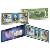 LIBRA - Horoscope Zodiac - Genuine Legal Tender Colorized U.S. $2 Bill