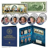 Living Presidents Genuine U.S. $2 Bill with 5-Coin State Quarter Set in Large Collectors Folio Display
