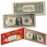 Chinese Lanterns Lucky Money Double 88 Serial Number U.S. $1 Bill with Red Folio