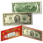 Chinese Lanterns Lucky Money Double 88 Serial Number U.S. $2 Bill with Red Folio