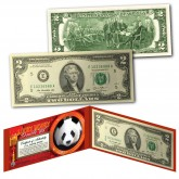 Chinese Panda Lucky Money Double 88 Serial Number U.S. $2 Bill with Red Folio