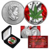 CANADA LEGALIZED MARIJUANA Colorized 2018 Genuine .9999 Silver 1 oz CANADA MAPLE LEAF BU with Box
