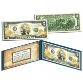 United States MARINES $2 Bill U.S. Genuine Legal Tender - GOLD LEAF Laser Line - MILITARY