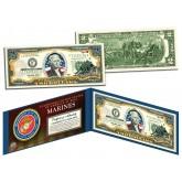 United States MARINES World War II WWII Vintage Genuine Legal Tender Colorized U.S. $2 Bill