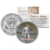 MICHELANGELO - Statue of DAVID - Sculpture Colorized JFK Kennedy Half Dollar U.S. Coin