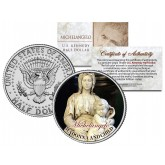 MICHELANGELO - MADONNA AND CHILD - Jesus Christ Statue Sculpture Colorized JFK Kennedy Half Dollar U.S. Coin