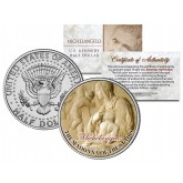 MICHELANGELO - THE MADONNA OF THE STAIRS - Jesus Christ Statue Sculpture Colorized JFK Kennedy Half Dollar U.S. Coin