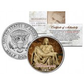 MICHELANGELO - PIETA - Statue Madonna & Jesus Christ Sculpture - Colorized JFK Half Dollar U.S. Coin