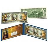 MONA LISA by Leonardo da Vinci Genuine - Famous Masterpieces - Genuine Legal Tender Colorized U.S. $2 Bill