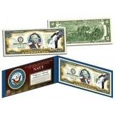 United States NAVY World War II WWII Vintage Genuine Legal Tender Colorized U.S. $2 Bill
