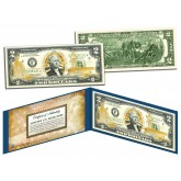 United States NAVY $2 Bill U.S. Genuine Legal Tender - GOLD LEAF Laser Line - MILITARY