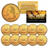 2001 North Carolina State Quarters U.S. Mint BU Coins 24K GOLD PLATED (Quantity 10)