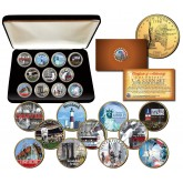 NEW YORK STATE COLLECTION Colorized Statehood NY Quarters U.S. 11-Coin Complete Set 24K Gold Plated with Display Box