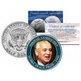 MIKHAIL GORBACHEV - 1990 NOBEL PEACE PRIZE - Colorized JFK Kennedy Half Dollar U.S. Coin